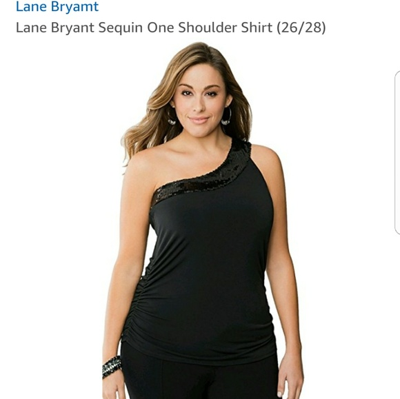 4d2fb75783f Lane bryant tops brand new black sequence off one shoulder top jpg 580x579  Sparkly one shoulder